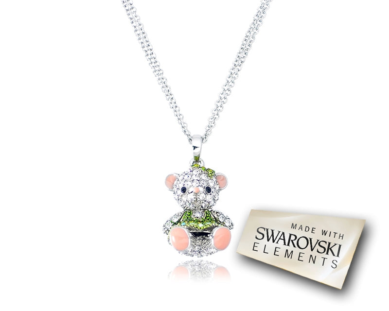 2.5cm Swarovski Crystal Teddy with Dress Pendant Necklace - Green