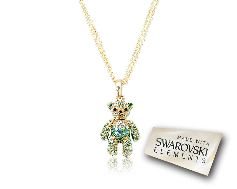 2cm Swarovski Crystal Bear Pendant Necklace - Green