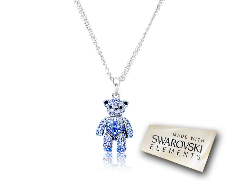 2cm Swarovski Crystal Bear Pendant Necklace - Blue