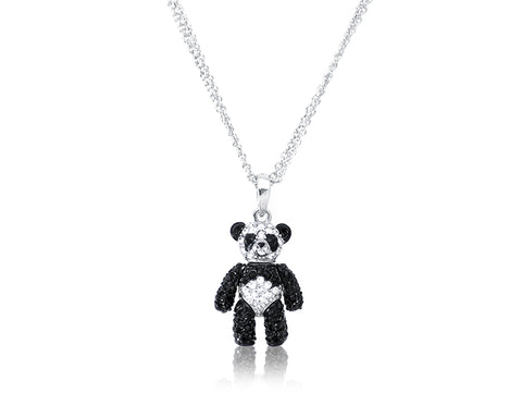 2cm Swarovski Crystal Bear Pendant Necklace - Black White