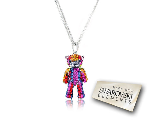 3cm Childhood Collection Swarovski Teddy Pendant Necklace - Rainbow