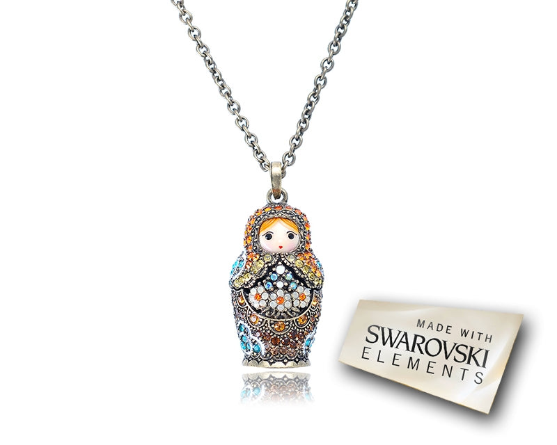 3.5cm Swarovski Crystal Russian Doll Pendant Necklace - Orange