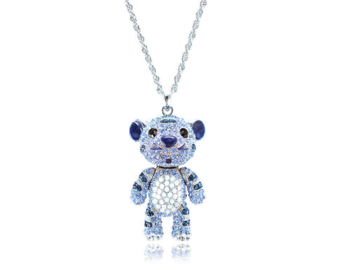 5cm Swarovski Crystal Tiger Pendant Necklace - Blue