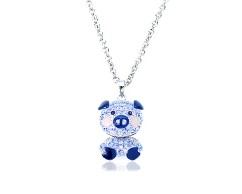 2.5cm Swarovski Crystal Piggy Pendant Necklace - Blue