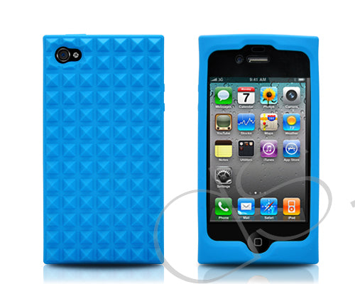 Pyramid Series iPhone 4 and 4S Silicone Case - Blue