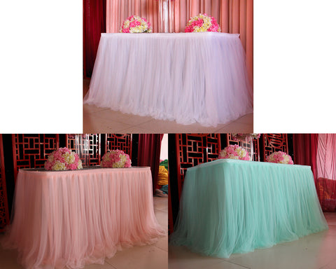 Tulle Table Skirt for Wedding Party Decoration