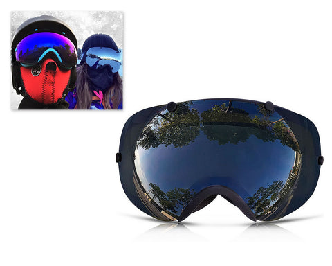 Bold Series Ski Goggles with Detachable Lens and Strap - Black