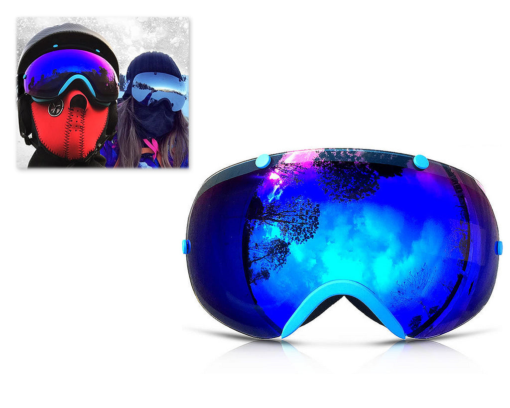 Bold Series Ski Goggles with Detachable Lens and Strap - Blue