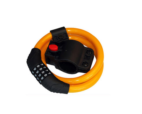 2 Feet Bicycle Resettable Combination Spiral Cable Lock - Orange