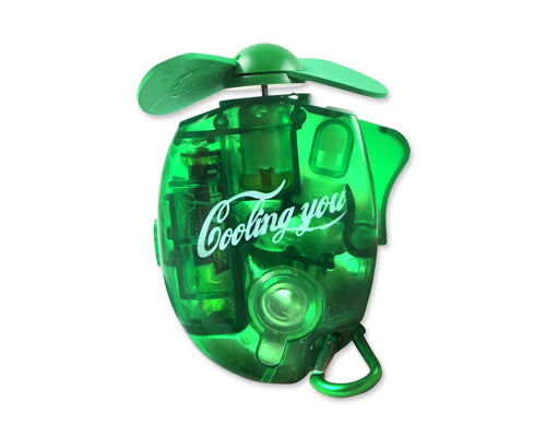 Portable Battery Operated Outdoor Carabiner Water Spray Fan - Green