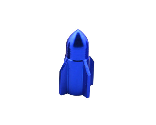 2 Pcs Rocket Shaped Bicycle BMX Bike Car Tire Tyre Valve Cap - Blue