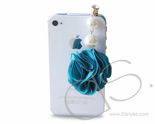 Dangling Flower Crystal Headphone Jack Plug - Blue