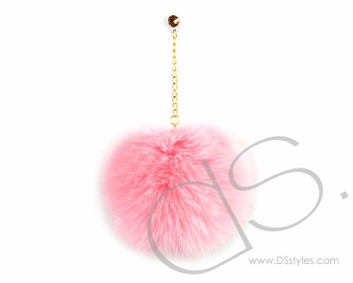 Pink Fur Ball Headphone Jack Plug