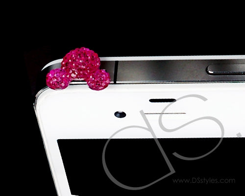 Bear Crystal Headphone Jack Plug - Magenta