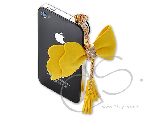 Crystal Ribbon Headphone Jack Plug - Gold