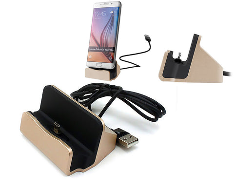 Micro USB Charging and Sync Docking Station for Android - Gold