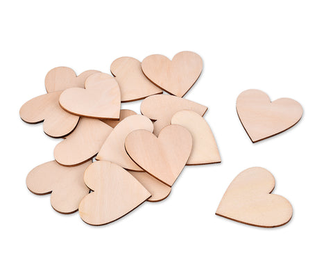 2 Inches Blank Wood Hearts - 50 Pieces