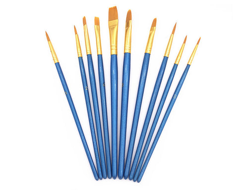 Paint Brush Set 10 Pieces Artist Paint Brush for Painting or Nail Art - Blue
