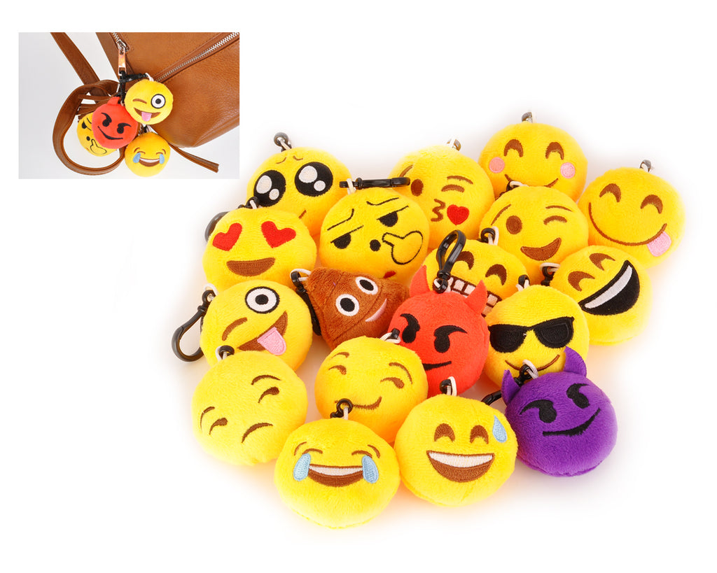 Plush Emoji Keychains 2.5 Inches Set of 18 Pieces