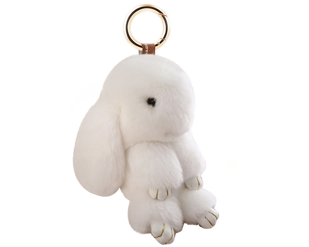 Cute Rex Rabbit Fur Keychain - White