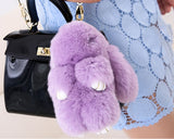 Cute Rex Rabbit Fur Keychain - Purple