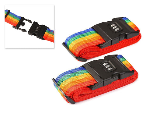 2 Pcs Security Rainbow Luggage Straps with Password Lock