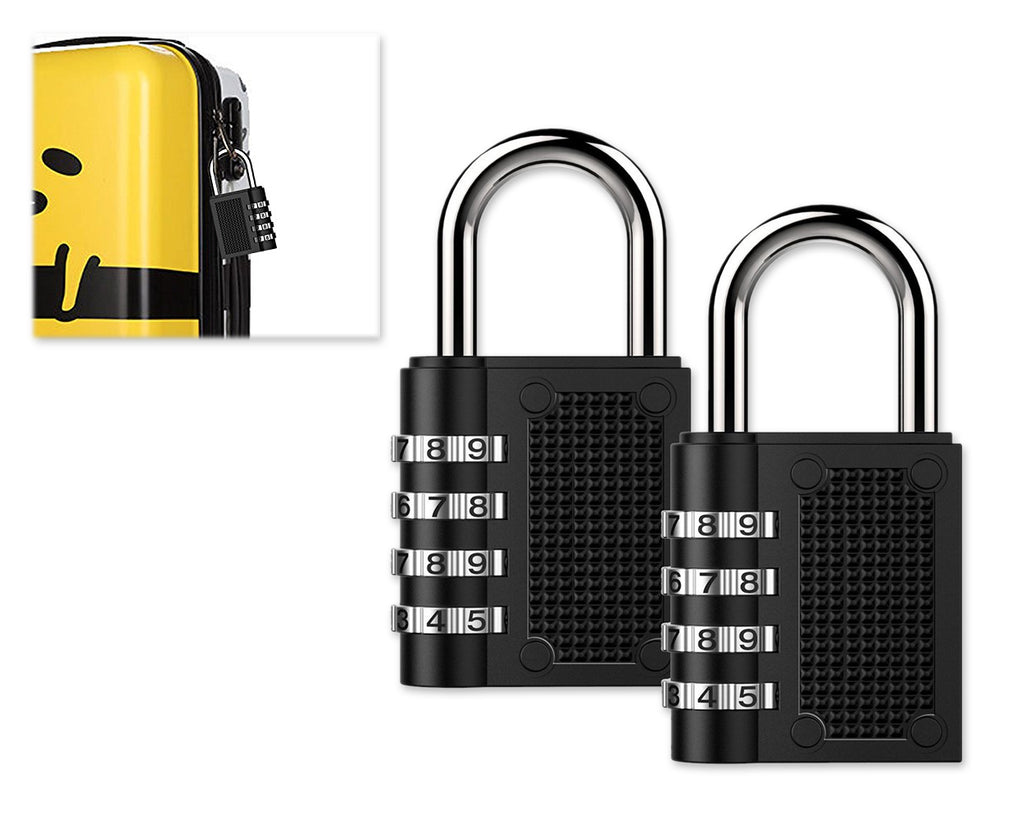 2 Pieces Resettable Combination Lock 4 Digit Gym Padlock - Black
