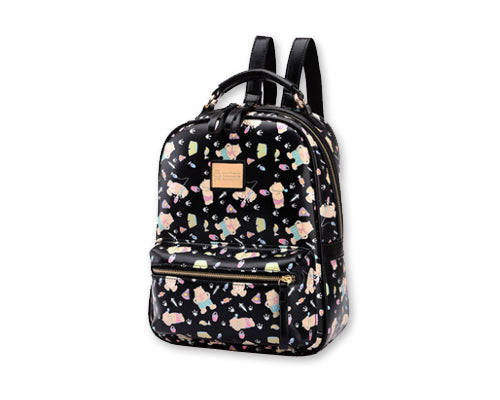 Cute Cartoon PU Leather Backpack with Built-In Handle- Black