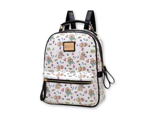 Cute Cartoon PU Leather Backpack with Built-In Handle - White