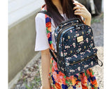 Cute Cartoon PU Leather Backpack with Built-In Handle - Navy