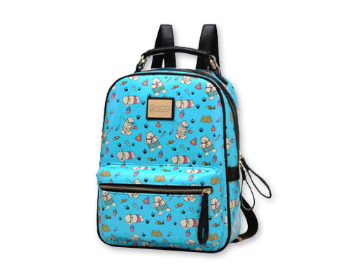 Cute Cartoon PU Leather Backpack with Built-In Handle - Blue