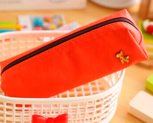 Lovely Deer Candy Color Students Stationery Bag - Red