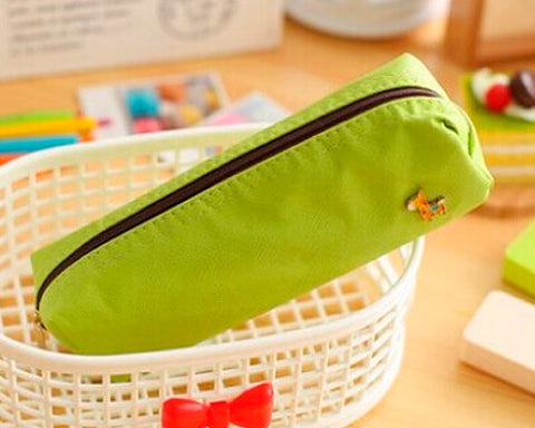 Lovely Deer Candy Color Student Pencil Bag - Green