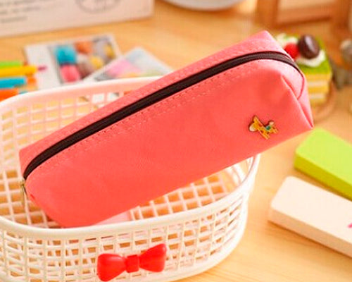 Lovely Deer Candy Color Student Pencil Bag - Pink