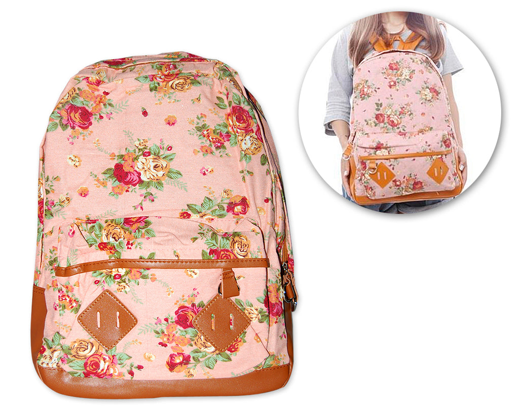 Floral Print Canvas Backpack - Pink