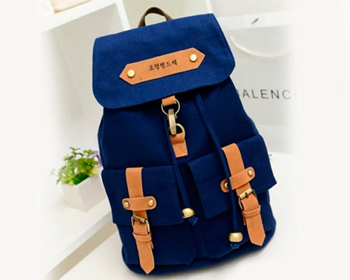 Korean Style Drawstring Rucksack - Navy