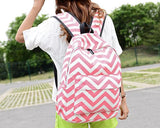 Stripe Print Casual Canvas Backpack - Pink