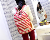 Stripe Print Korean Style Canvas Rucksack - Red