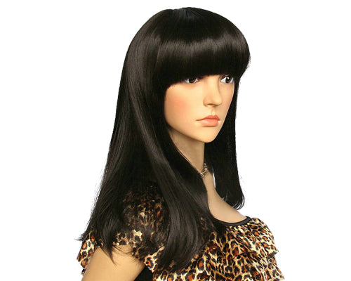 Fashion Women Long Straight Wig with Neat Bangs- Black
