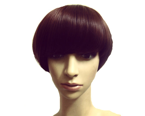 Heat Resistant Short Bob Style Highlight Straight Hair Wig - Brown