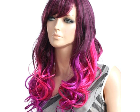 Heat Resistant Long Curly Wig with Side Swept Bangs- Purple Red