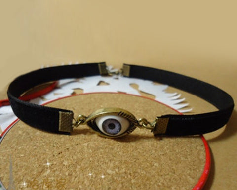 Retro Punk Goth Velvet Ribbon Gorgeous Choker Necklace-Eye Pendant