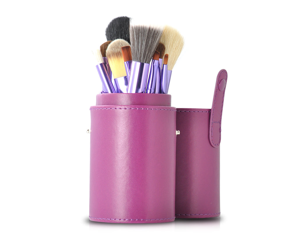 12 Pcs Professional Makeup Brush Set with Cup Holder - Purple