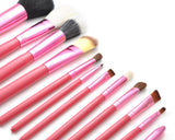 12 Pcs Professional Makeup Brush Set with Cup Holder - Pink