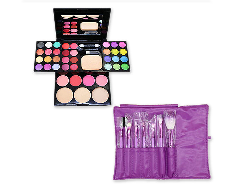 Makeup Combo Set including Brushes and Palette for Beginners - Purple