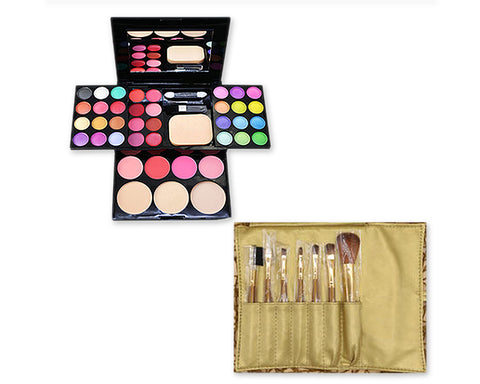 Makeup Combo Set including Brushes and Palette for Beginners - Gold