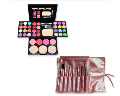 Makeup Combo Set including Brushes and Palette for Beginners - Pink