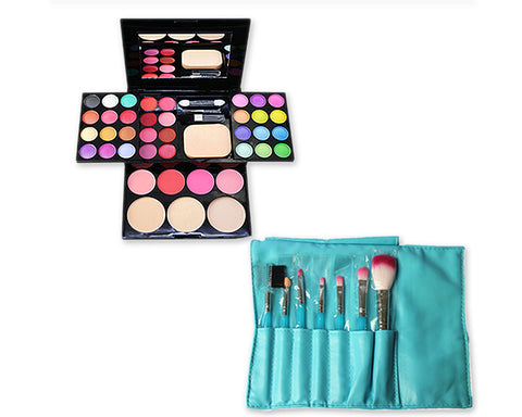 Makeup Combo Set including Brushes and Palette for Beginners - Green