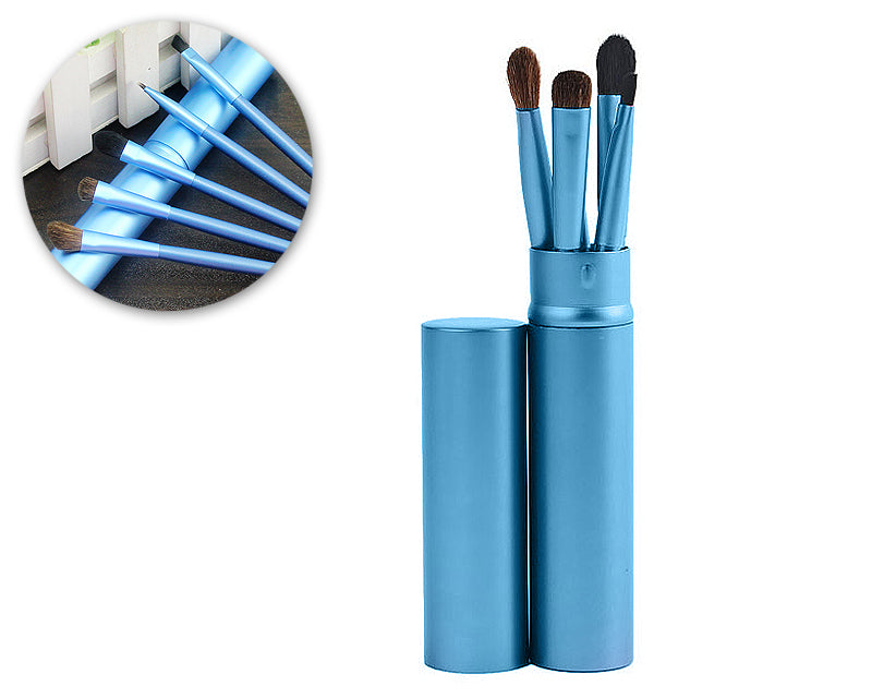 5 Pcs Professional Makeup Brush Set with Cyclinder Tube - Blue