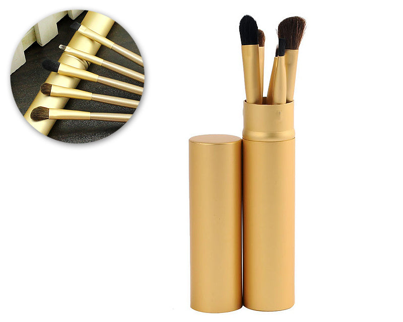 5 Pcs Professional Makeup Brush Set with Cyclinder Tube - Gold